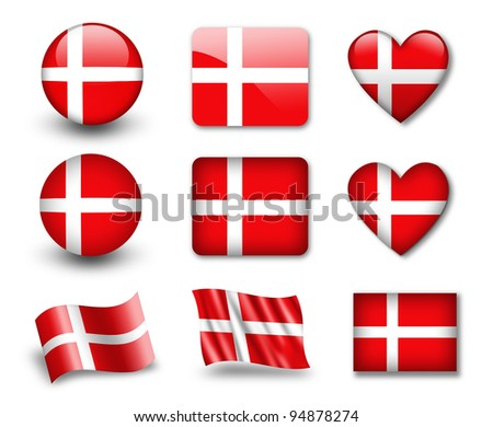 The Danish flag - set of icons and flags. glossy and matte on a white background.