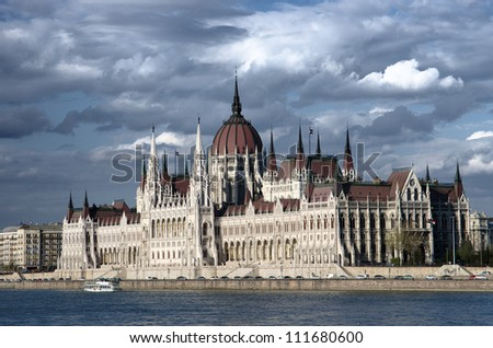 Budapest the Danube River and the Hungarian Parliament against a dramatic sky