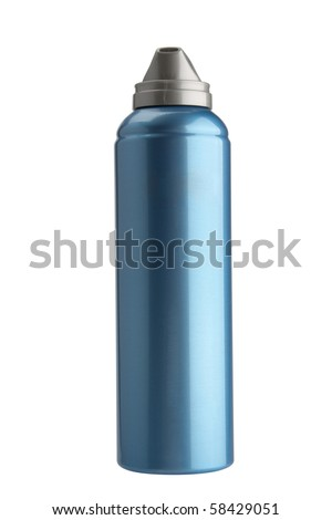 The dark blue aerosol stands on a cover on a white background is isolated.