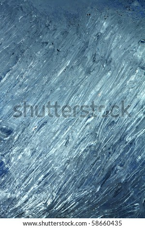 The dark blue ice crystals