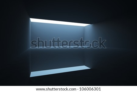 The dark interior of  abstract with light passing from  crack in ceiling.