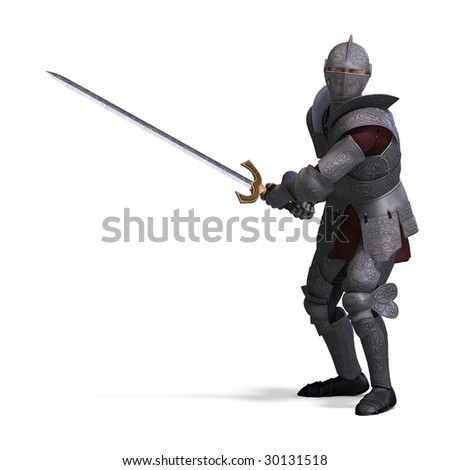 The Dark Knight with sword. With clipping path over white