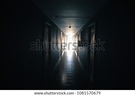 The dark passage between the rooms in the apartment. #1081570679