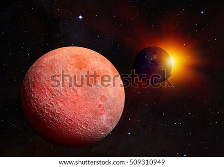 "The Dark side of the moon and Lunar eclipse ""Elements of this image furnished by NASA"""