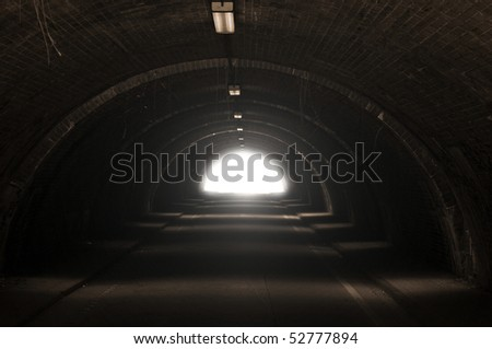 The dark tunnel with light