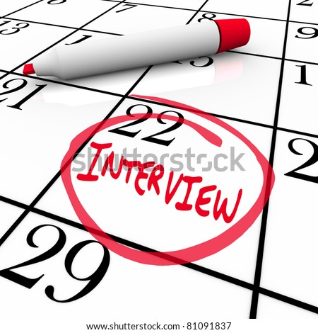 The date of an interview is circled on a calendar so you remember the important meeting with your potential new employer