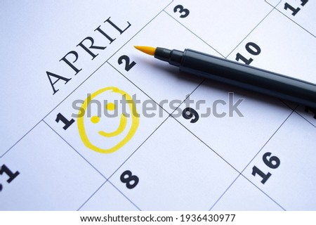 The date of April 1 is circled on the calendar close up. April Fool's Day Photo stock ©