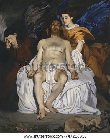 The Dead Christ with Angels, by Edouard Manet, 1864, French impressionist painting, oil on canvas