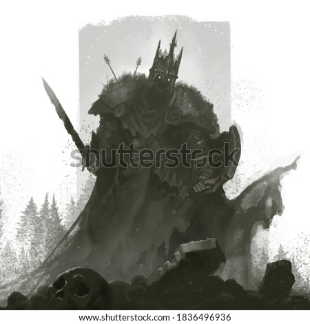 The dead king has risen from the grave to protect the kingdom. Knight dead man illustration sketch. Foto stock ©