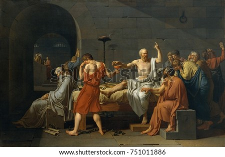 THE DEATH OF SOCRATES, by Jacques Louis David, 1787, French Neoclassical painting, oil on canvas. Greek Classical philosopher Socrates about to drink poison hemlock as the price of maintaining his bel