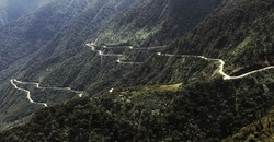 The Death Road in Bolivia used for bikers downhill