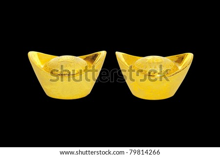 The decoration of gold bullion to China in a black background.
