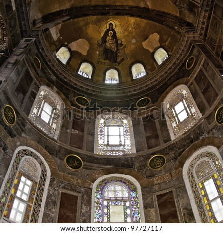 The decorative interior of the beautiful hagia sofia mosque situated in the turkish city of Istanbul.