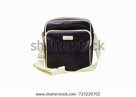 the deep brown mail bag  on white background isolated #723220702
