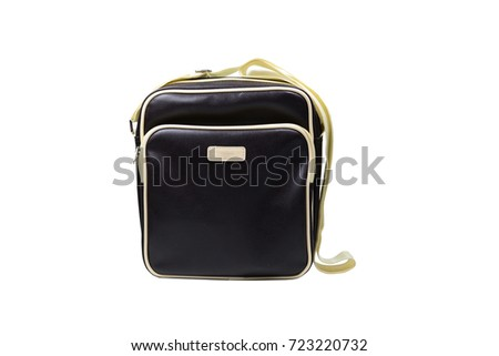 the deep brown mail bag  on white background isolated #723220732