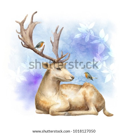 The deer and birds. Template for posters and greeting cards. Watercolor abstract illustration.