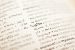 The definition of the word English in a dictionary