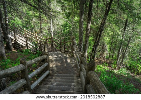 The Descent into Hell hiking trail in the Canyon des Portes de l'Enfer park (Hell's gate Canyon), with more than 300 steps that lead directly to the Rimouski river in Bas Saint Laurent, Quebec, Canada Photo stock ©