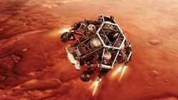 The descent of the River to the surface of the red planet. rover fires up its descent stage engines as it nears the Martian surface. Elements of image furnished by NASA.