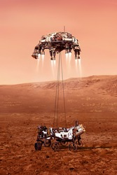 The descent of the Rover to the surface of the red planet. rover fires up its descent stage engines as it nears the Martian surface. Elements of image furnished by NASA.