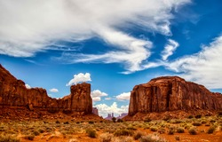 The desert in the red canyon. Red rock canyon desert landscape. Red rocks in canyon desert