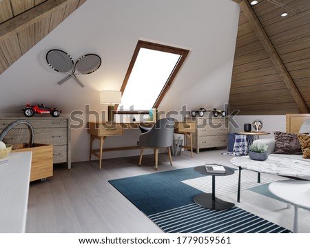 The design of the children's room for the teenager on the attic is in the loft style, the ceiling is hemmed with wood and the walls are white. 3D rendering. Stock photo ©
