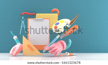 The designer's hand is surrounded by a mouse and stationery on a cutting mat. 3d render for banner and poster.-3d rendering.