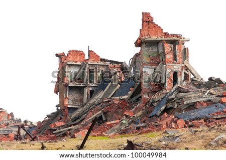 The destroyed apartment building in the tundra in the far north