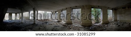 The destroyed house from within.