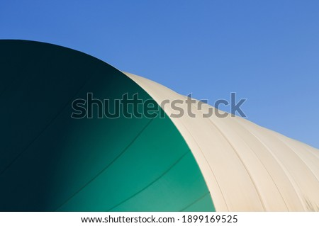 The detail of a pressure switch structure with a plastic cover of a sports building and the sky in the background (pesaro, Italy, Europe) Foto d'archivio ©