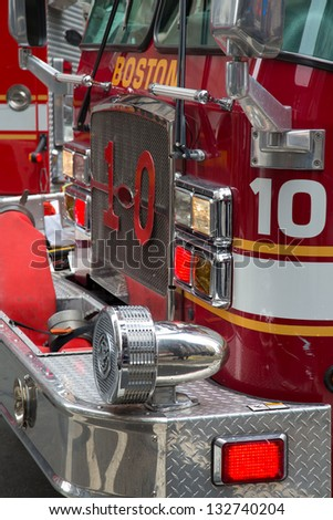 The detail on the front of a Fire Engine at a response to a fire alarm. Boston, MA