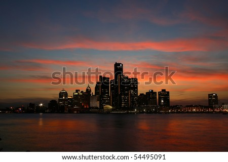 The Detroit skyline from the Canadian side of the river.