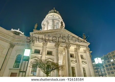 The Deutscher Dom (German Cathedral) situated on Gendarmenmarkt (the Gendarmes Market) south side at Berlin, Germany #92618584