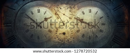 The dials of the old antique classic clocks on a vintage paper background. Concept of time, history, science, memory, information. Retro style. Vintage clockwork background. #1278720532