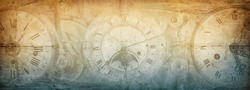 The dials of the old antique classic clocks on a vintage wide paper background. Concept of time, history, science, memory, information. Retro style. Vintage clockwork background.