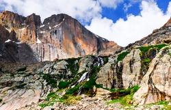 The Diamond Face of Longs Peak and Waterfall. Rocky Mountain National Park, Colorado, USA