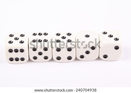 The dice are randomly/ Dice on white background Stock photo ©
