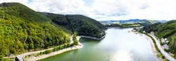 the Diemelsee lake in hesse germany from above as a high definition panorama