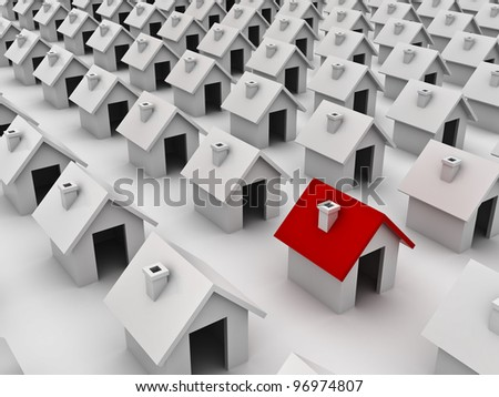 The different or stand out from the crowd concept, one red house in group of white houses