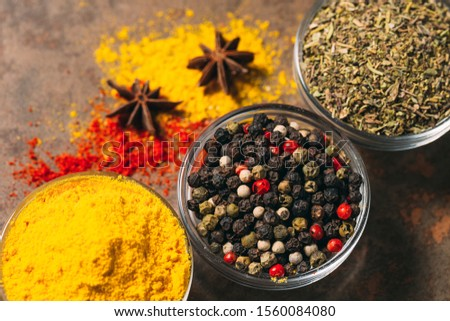 The Different Spices. Spices on stone background