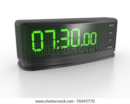 the digital clock on a white background