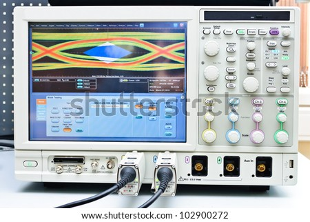 The digital oscilloscope. Close-up Photos