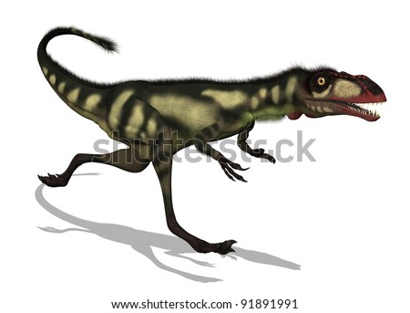The Dilong was a small dinosaur that lived in China during the Lower Cretaceous period - 3D render.
