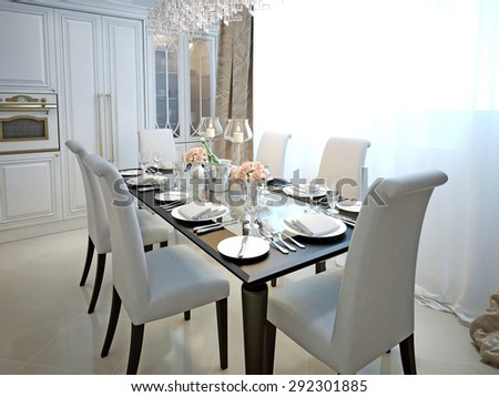 The dining room and kitchen in the style of art deco. With the laid table. White and black furniture. 3D render.