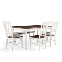 The dining table set with bench isolated on the white background.