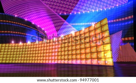 The disco stage background for virtual set