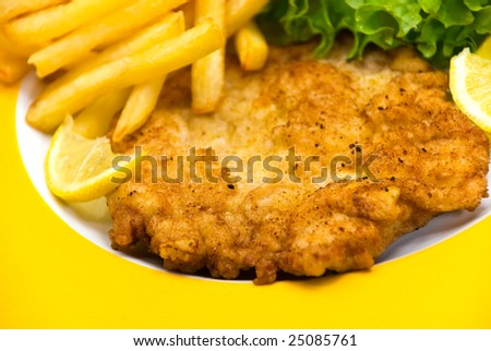 The dish full of meat - the veal crunchy chops
