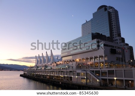 The distinctive sails of Canada Place, Vancouver's Trade and Convention Center as well as it's cruise ship terminal at dawn. British Columbia, Canada.
