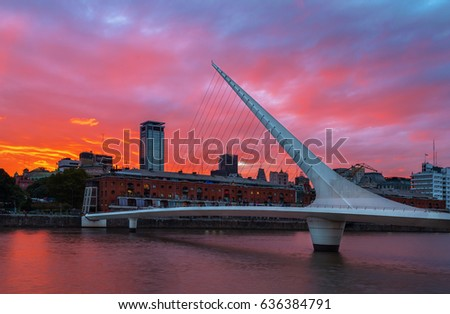 Shutterstock The district of Puerto Madero and the Women's bridge in the sunset. Buenos Aires, Argentina.