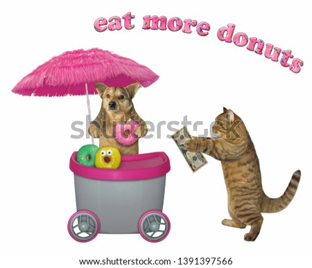 The dog sells donuts at the mini movable pink cart to the cat. White background. Isolated.